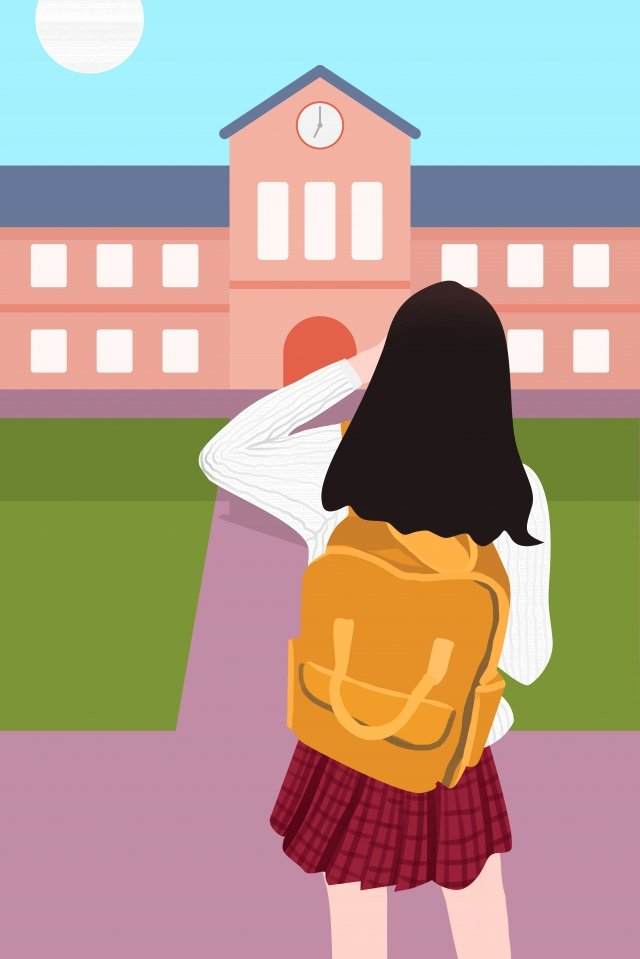 school season carry schoolbag student girl, Teenage Girl, School Bag, School illustration image