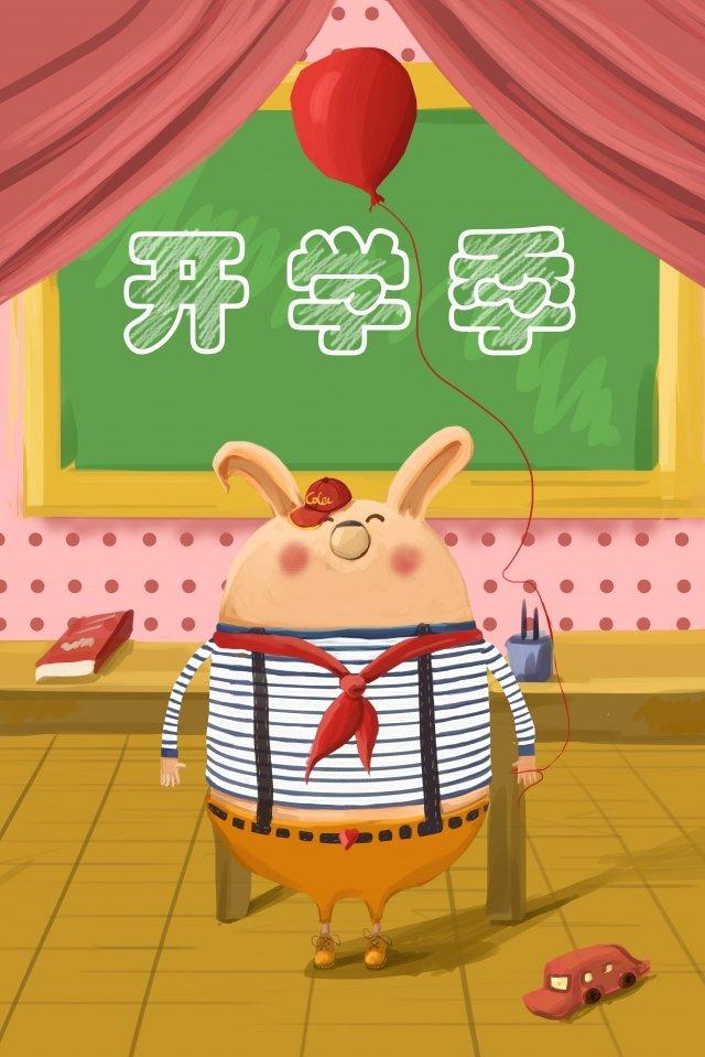 school season cartoon lovely rabbit, Classroom, School Season, Cartoon illustration image