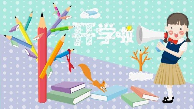 school season girl uniforms pencil tree, Book, Red Scarf, Fox illustration image