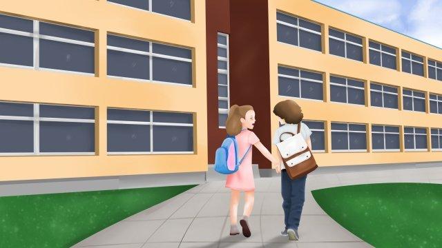 स्कूल का मौसम अच्छा दोस्त स्कूल के चित्रण में जाता है चित्रण छवि