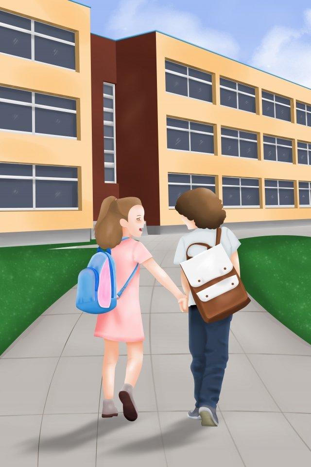 школьный сезон хороший друг идти в школу иллюстрации Ресурсы иллюстрации Иллюстрация изображения
