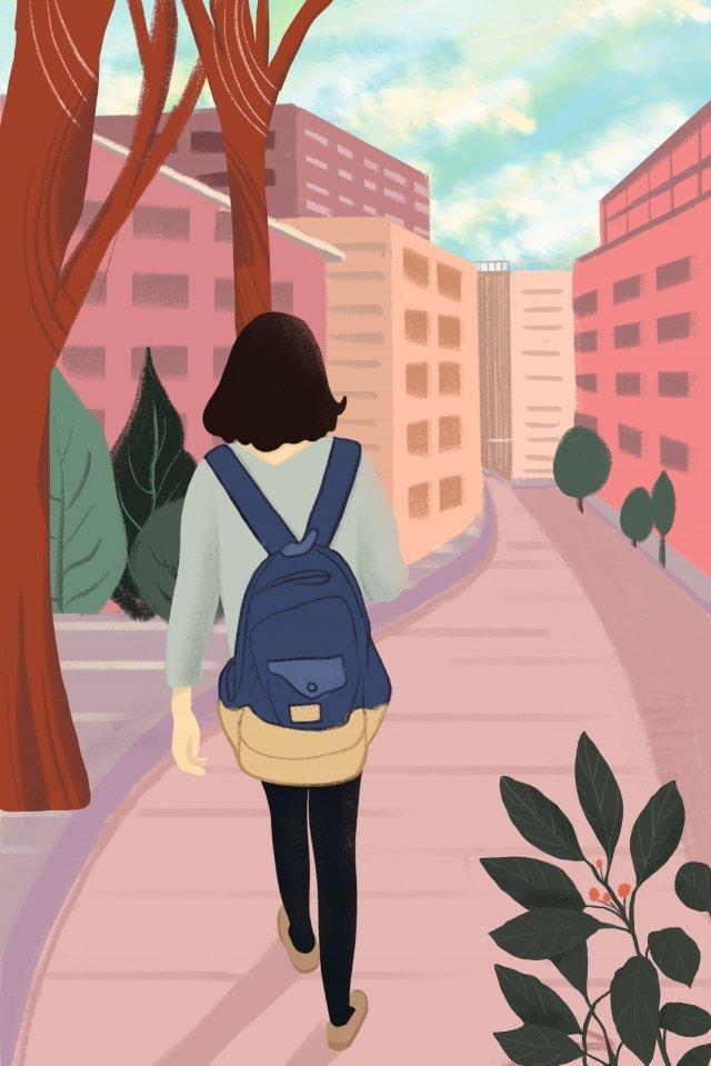 学校ピンクシーズン手描きイラストへの途中で学校の季節 イラスト素材