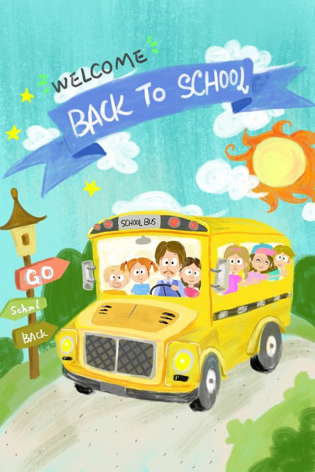 school season school bus lovely child, Campus, Student, Primary School Student illustration image