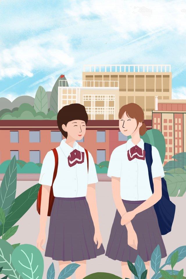 school season school student fresh, Campus, Hand, Drawn illustration image