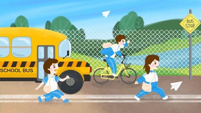 スクールシーズンの学生は通学かばんを学校に行きます イラスト素材 イラスト画像