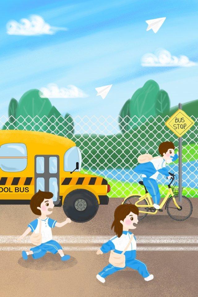 school season student carry schoolbag go to school, School Bus, Uniforms, Middle School Student illustration image