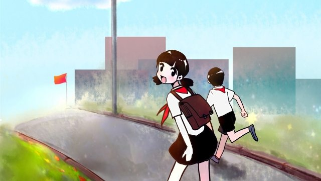 school season student child go to school, Sunlight, Lovely, Chaoyang illustration image