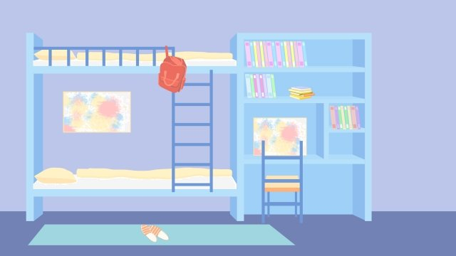 スクールシーズン学生寮の部屋 イラスト素材 イラスト画像