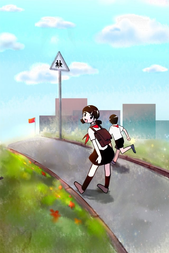 Alunos no início da temporada de primavera vão para a escola Temporada de abertura Estudante IrDe  Do  Temporada PNG E PSD illustration image