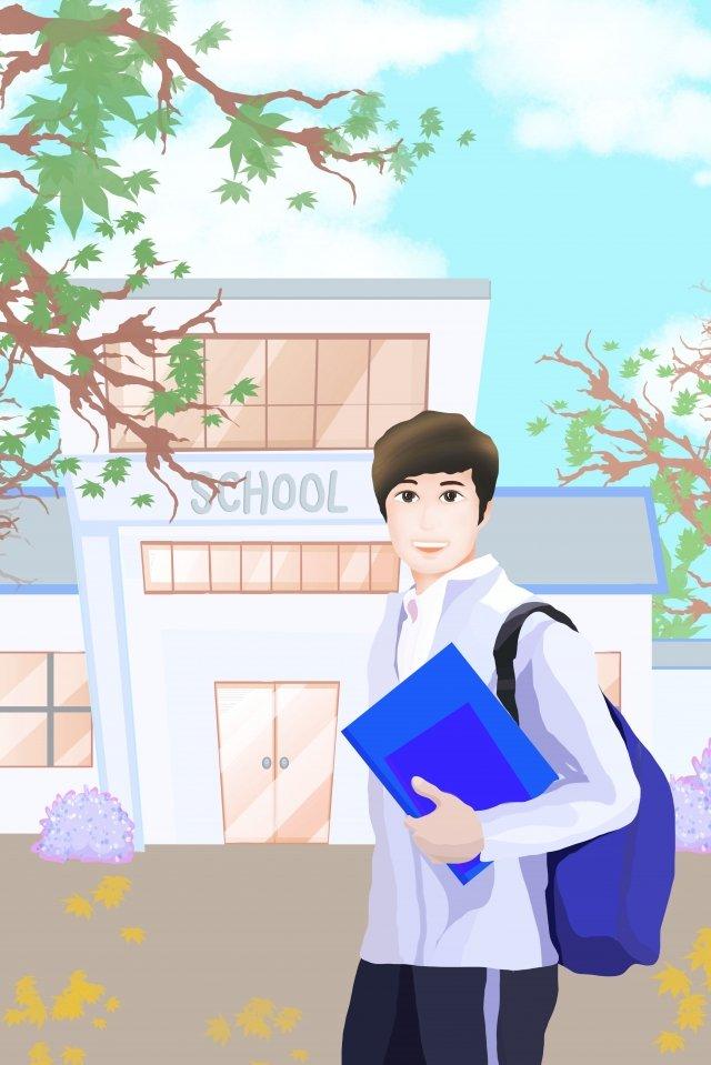 学期生登録学校キャンパス イラスト素材 イラスト画像