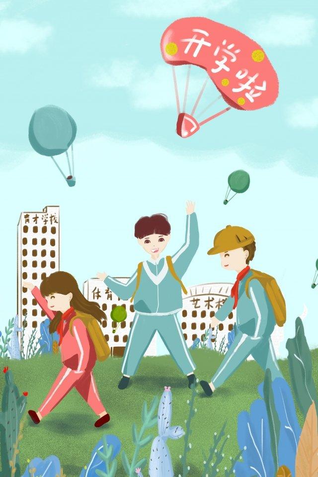 a escola começou a ilustração de escola de cena de escola de estudante que começa em setembro Material de ilustração