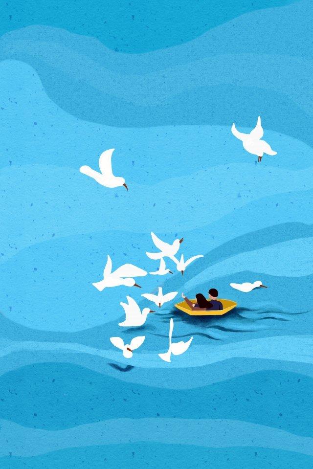 समुद्र युगल नाव नीला चित्रण छवि चित्रण छवि