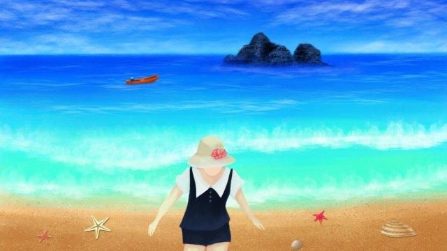 sea girl illustration seaside, Beach, Girl, Hand Drawn Illustration illustration image