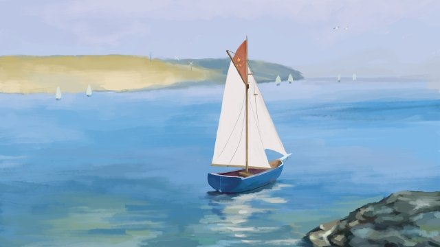 морской парусник пейзаж приморский Ресурсы иллюстрации