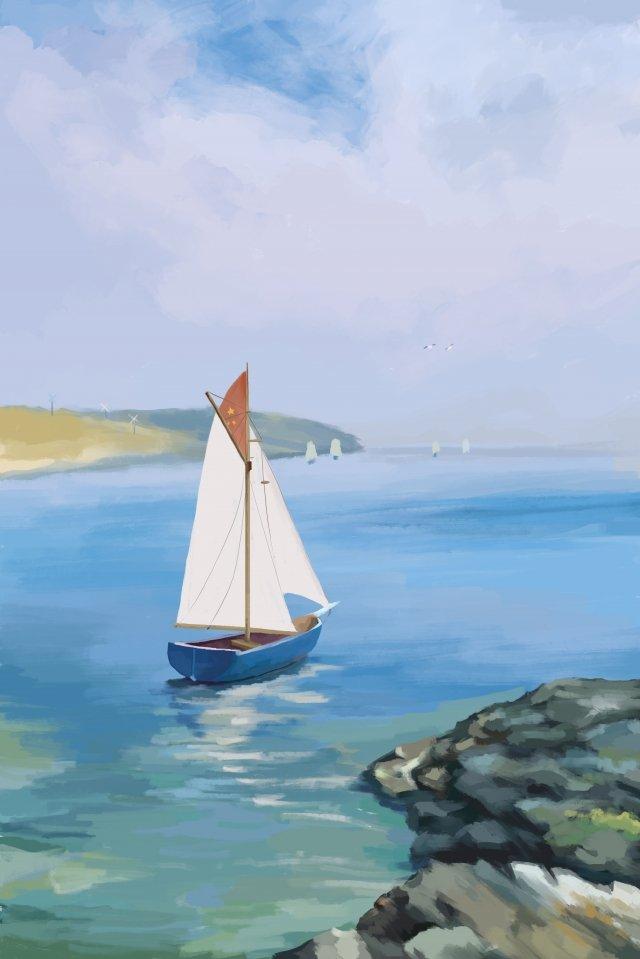 海ヨット風景海辺 イラストレーション画像