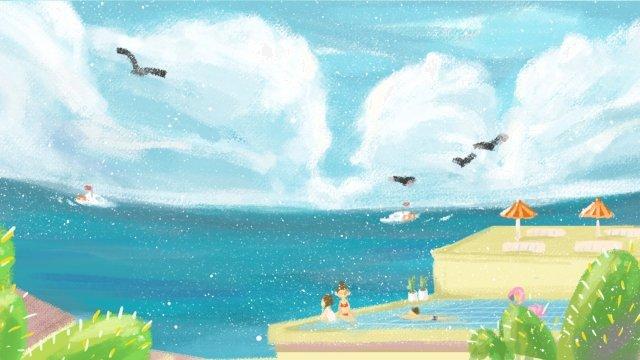 sea seaside beach coastal, Swimsuit, Cactus, Infinity Pool illustration image