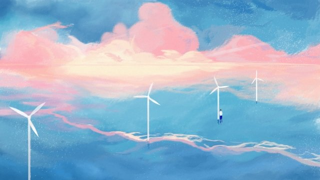 sea seaside wave background, Sunset Glow, Red Cloud, Windmill illustration image