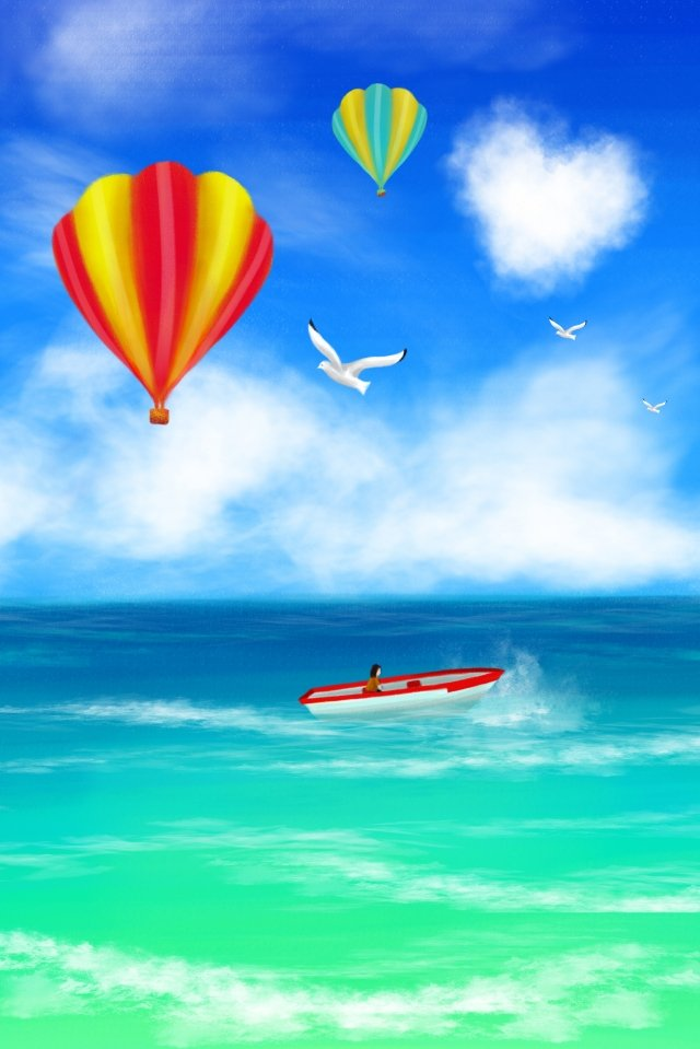 sea summer ocean hand drawn illustration, Blue Sky, White Clouds, Hot Air Balloon illustration image