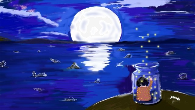 sea surface moon girl firefly, Drifting Bottle, Artistic Conception, Dream illustration image
