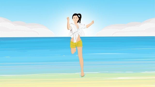 seaside beach beach summer, Teenage Girl, Yellow, Male Color illustration image