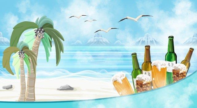 海邊啤酒石灘 插畫素材