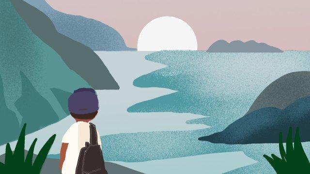 海邊男孩日出旅行 插畫素材
