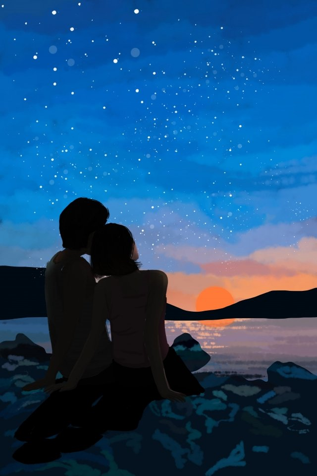 seaside dusk under the sky couple, Blue Sky, Sunset, Night Sky illustration image