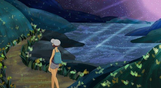 seaside night view girl mountain, Flower, Grass, Seawater illustration image