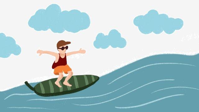 海邊夏季衝浪眼鏡 插畫素材 插畫圖片