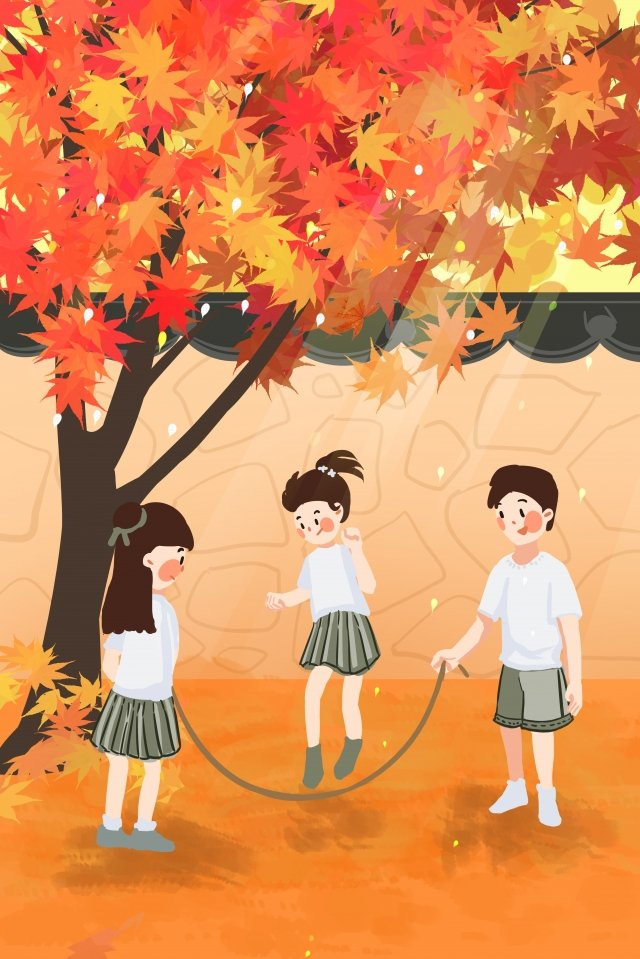 september hello there fall red llustration image