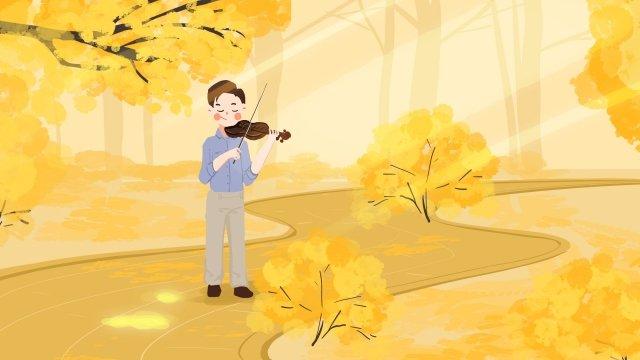 9月こんにちはこんにちは黄色に落ちる イラスト素材