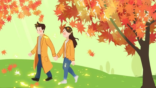 september hello there hand painted illustration, Maple Leaf, Red, Couple illustration image