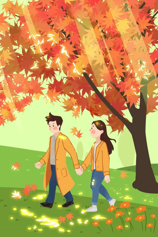 september hello there hand painted illustration, Maple Leaf, Red, Windbreaker illustration image
