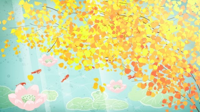 september hello there hand painted illustration, Fall, Ginkgo, Yellow illustration image