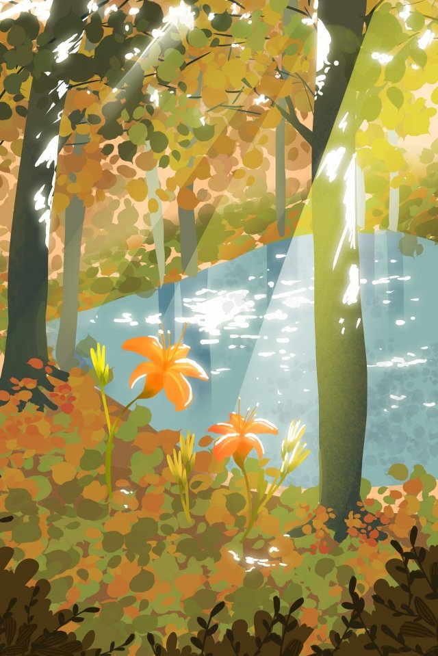 september hello there hand painted illustration, Autumn Day, Forest, Autumn illustration image