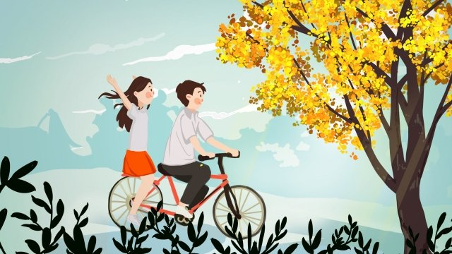 september hello there hand painted illustration, People In Nature, Bicycle, Couple illustration image