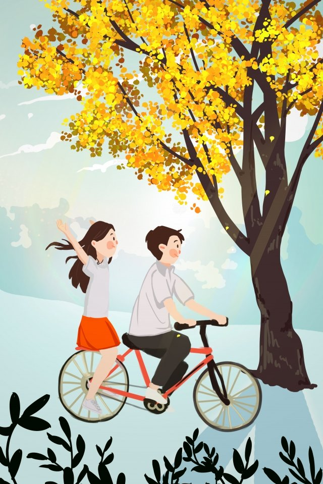 september hello there hand painted illustration, Autumn Day, Autumn, Fall illustration image