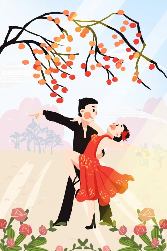 september hello there persimmon tree llustration image