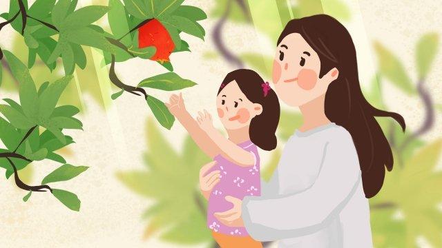 9月こんにちはそこにザクロの母と娘 イラスト素材 イラスト画像