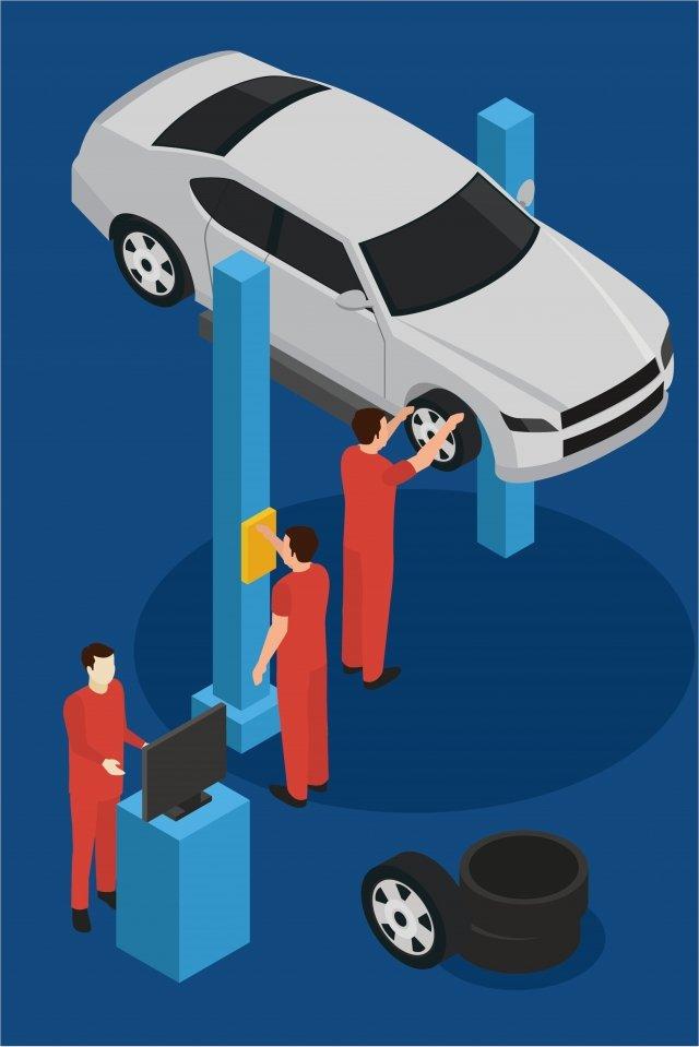 सेवा कार कार्मिक सेवा केंद्र चित्रण छवि