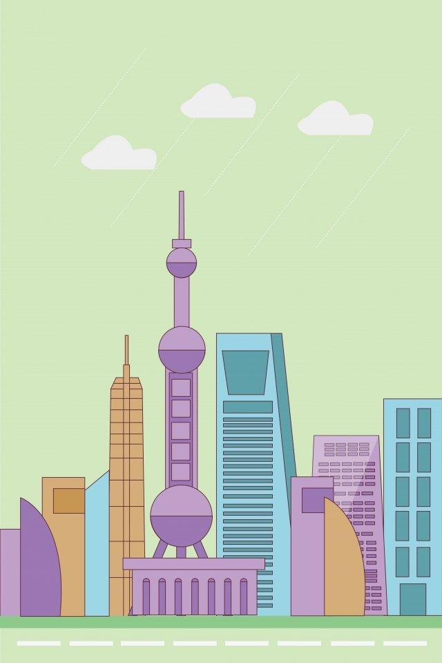 shanghai city landmark building illustration image