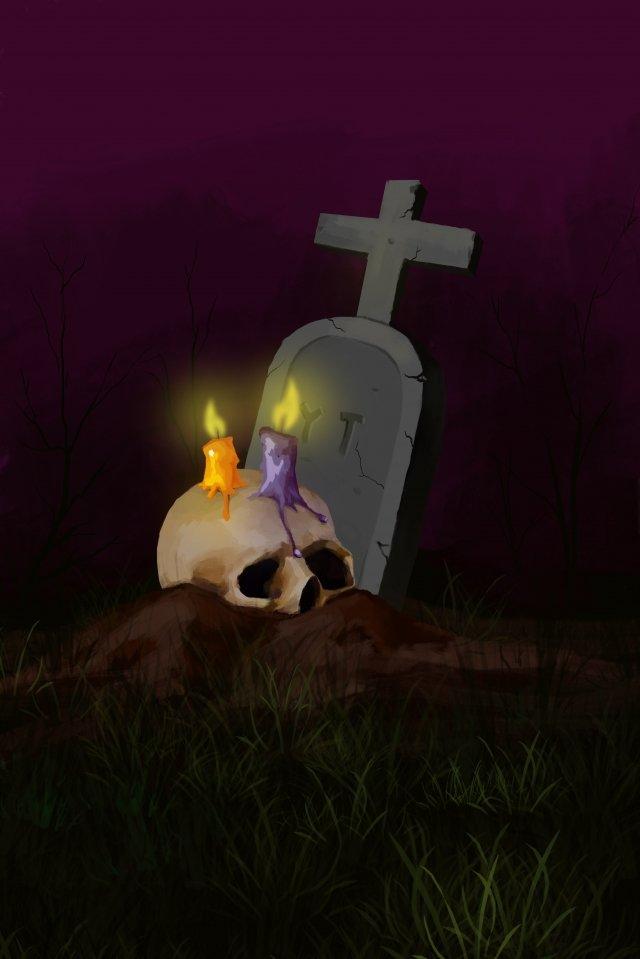 shantou candle tombstone halloween llustration image