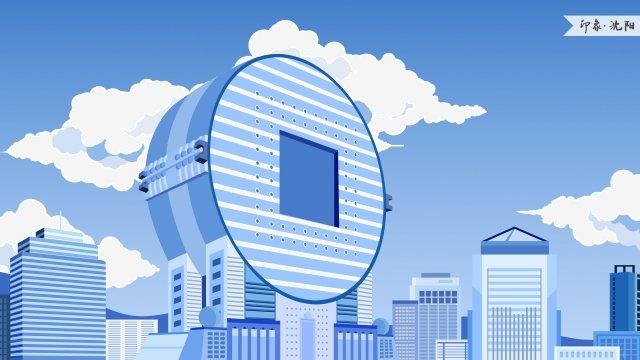 shenyang fangyuan building impression landmark building, Landmarks, City Illustration, Skyline illustration image