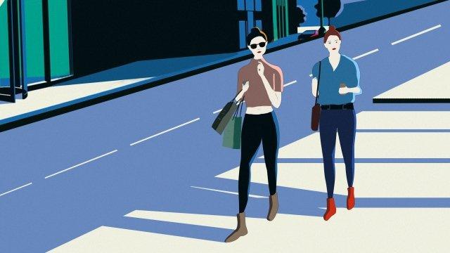 쇼핑가는 쇼핑 거리 삽화 소재 삽화 이미지