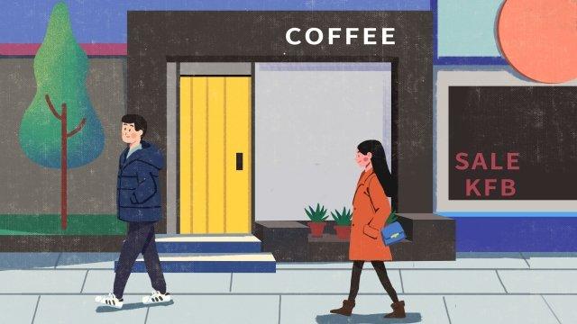 쇼핑 라이프 거리 겨울 삽화 소재 삽화 이미지