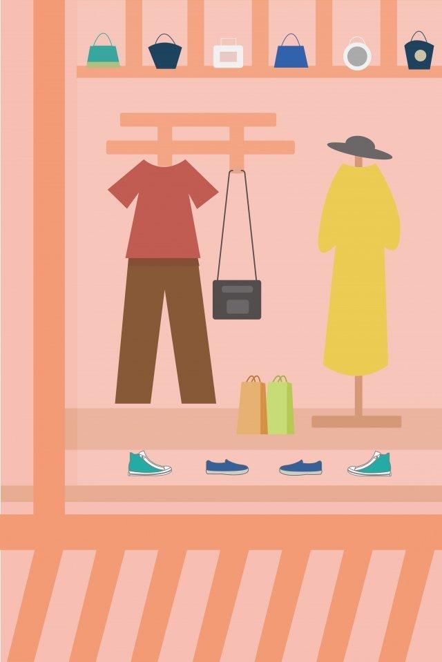 쇼핑 창 옷 가방 삽화 소재
