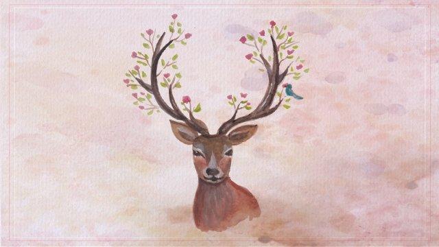 sika cervos animal pintados à mão fulvo Material de ilustração