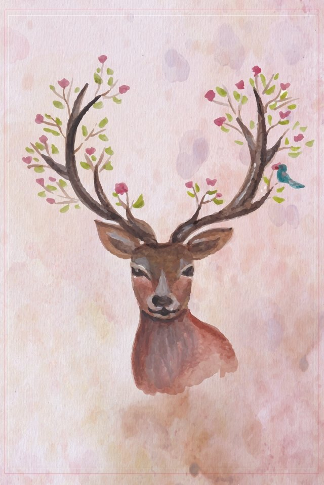 sika deer animal hand painted fawn llustration image
