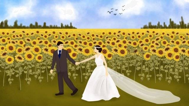 simple sunflower marry wedding llustration image