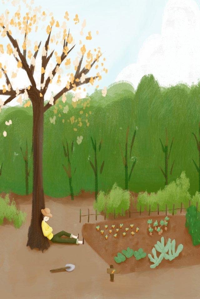 誠意農村生活領域 插畫素材